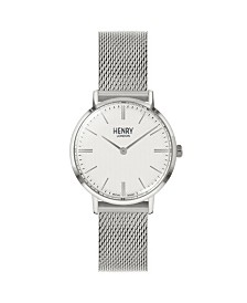 Henry London Unisex Regency Classic Analog Silvertone Mesh Watch 34 mm