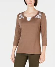 Karen Scott Embroidered Cotton Layered-Look Top, Created for Macy's