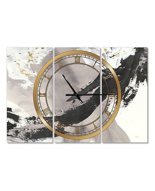 Designart Glam 3 Panels Metal Wall Clock