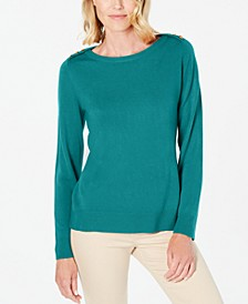 Petite Button-Shoulder Sweater, Created for Macy's
