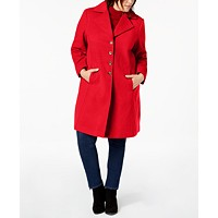 Deals on Tommy Hilfiger Plus Size Single-Breasted Peacoat