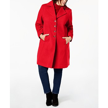 Tommy Hilfiger Plus Size Single-Breasted Peacoat,