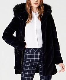 Petite Hooded Chevron Faux-Fur Coat