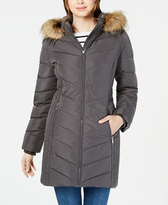 Tommy Hilfiger Chevron Faux-Fur Trim Hooded Puffer Coat, Created for Macy's