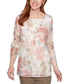 Alfred Dunner Petite Boardroom Floral-Print Lace Top