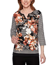 Alfred Dunner Petite Mixed-Print Studded Top
