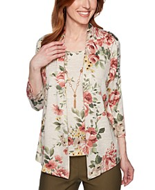Petite Floral-Print Layered-Look Top