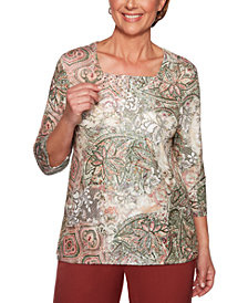Alfred Dunner Petite Cedar Canyon Printed Studded Top