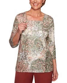 Alfred Dunner Cedar Canyon Printed Studded-Neck Top