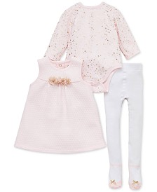 Little Me Baby Girls 3-Pc. Flower Jumper, Star-Print Bodysuit & Footed Tights Set