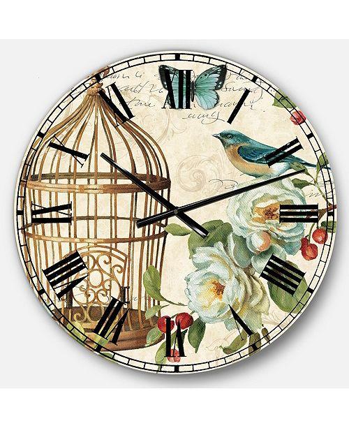 Designart Floral and botanical Oversized Metal Wall Clock