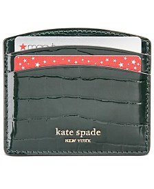 Kate Spade New York Sylvia Croc Embossed Leather Card Holder