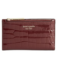 Kate Spade New York Sylvia Croc Embossed Slim Bifold Leather Wallet