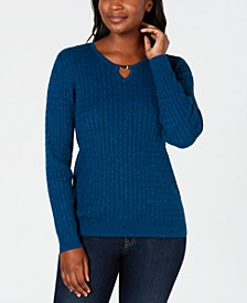 Petite Cotton Cable-Knit Keyhole Sweater, Created for Macy's