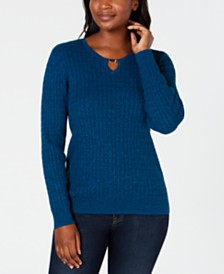Karen Scott Petite Cotton Cable-Knit Keyhole Sweater, Created for Macy's