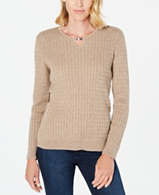 Karen Scott Cotton Cable-Knit Keyhole Sweater, Created for Macy's