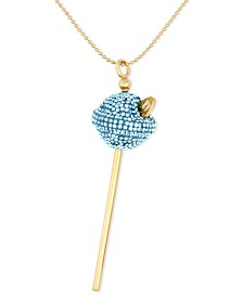 Simone I. Smith 18K Gold over Sterling Silver Necklace, Medium Light Blue Crystal Lollipop Pendant