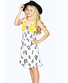 Lanoosh Big Girls A-Line Dress with Yellow Contrast Bow
