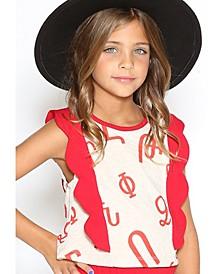 Little Girls Fun 3D Flap Scallop Contrast Detail Top