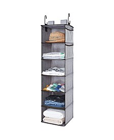 6-Shelf Hanging Fabric Closet Organizer with Side Pockets