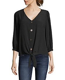 Tie Front Blouse with Button Front, Petite