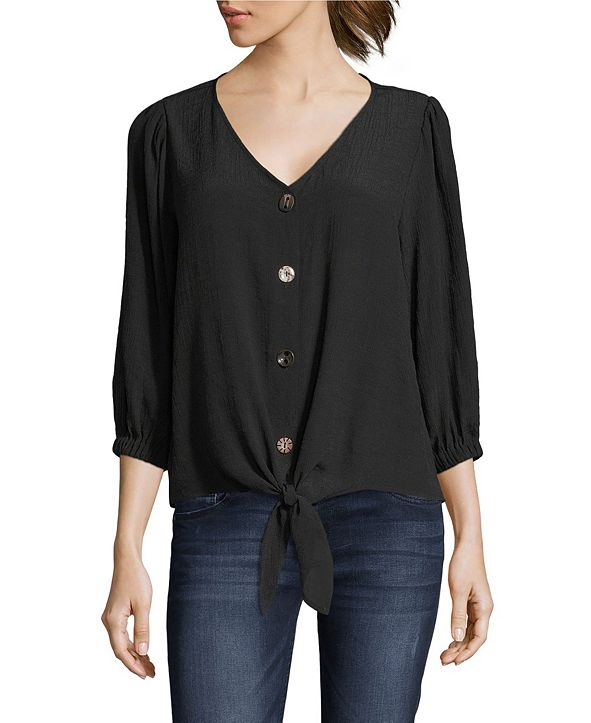 John Paul Richard Tie Front Blouse with Button Front