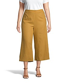 Linen Cropped Pants, Plus Size