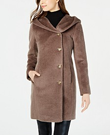 Hooded Asymmetrical Wool-Alpaca Blend Coat