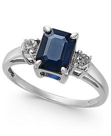 Sapphire (1-9/10 ct. t.w.) & Diamond (1/5 ct. t.w.) Ring in 14k White Gold