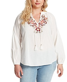 Alina Plus Size Embroidered Peasant Top