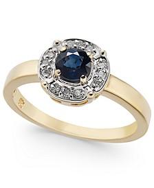 Sapphire (1/2 ct. t.w.) & Diamond (1/10 ct. t.w.) Ring in 10k Gold
