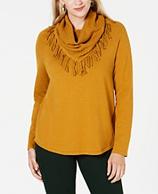 Fringe-Trim Cowlneck Sweater, Created for Macy's