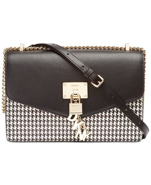 DKNY Elissa Leather Houndtooth Shoulder Flap, Created for Macy's