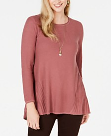 Style & Co Petite Pleated High-Low Sweater, Created for Macy's