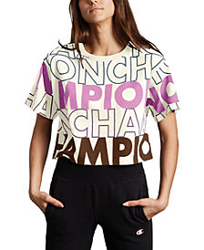 Champion Women's Cotton Logo-Print Cropped T-Shirt
