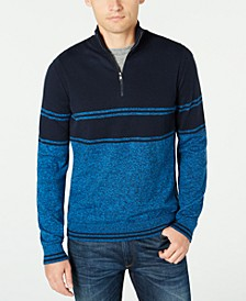 Men's Striped Quarter-Zip Sweater, Created For Macy's
