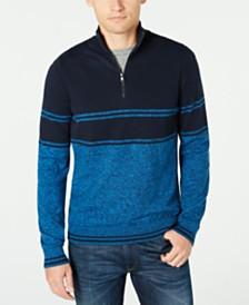Michael Kors Men's Striped Quarter-Zip Sweater, Created For Macy's