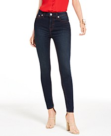 Halle Contrast-Stitch Skinny Jeans