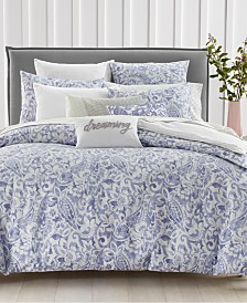 Charter Club Damask Designs Textured Paisley Cotton 300-Thread Count 3-Pc. Full/Queen Duvet Cover Set, Created for Macy's