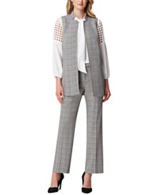 Tahari ASL Glen Plaid Vest, Tie-Neck Top And Suit Pants