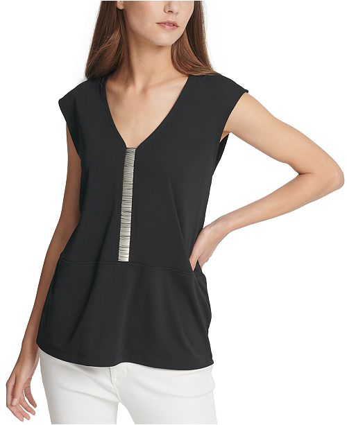 DKNY Embellished Cap-Sleeve Top