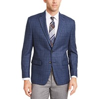 Lauren Ralph Men's Classic-Fit UltraFlex Stretch Blue Plaid Sport Coat
