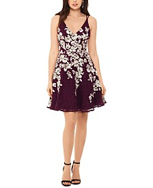 XSCAPE Lace-Embroidered Fit & Flare Dress