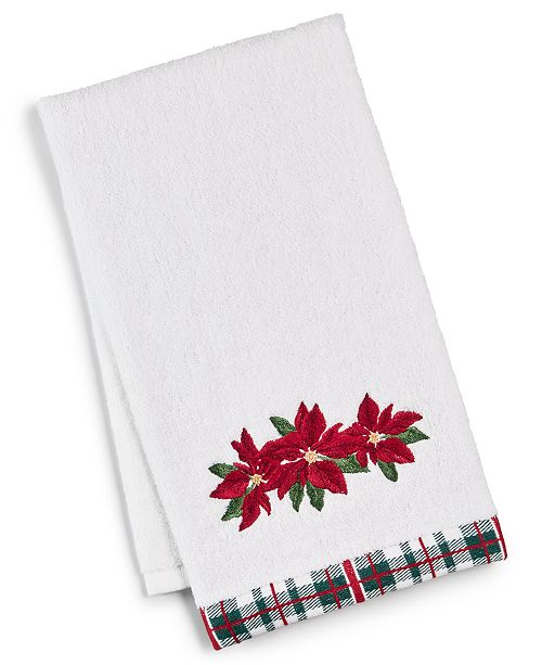 Martha Stewart Collection Poinsettia Hand Towel, Created for Macy's
