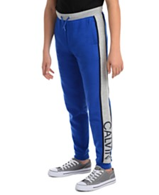 Calvin Klein Jeans Big Boys Rugby Side Stripe Fleece Joggers