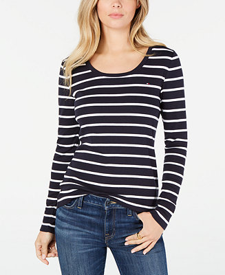 Cotton Striped Long Sleeve T Shirt, Created For Macy's by General