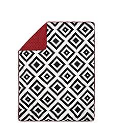 Tile Print Pompom Trim Blanket