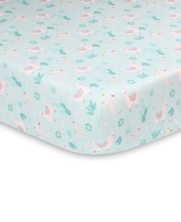 The Peanutshell Little Llama Fitted Crib Sheet