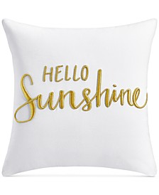 "Word Embroidered 16"" Square Decorative Pillow, Created for Macy's"