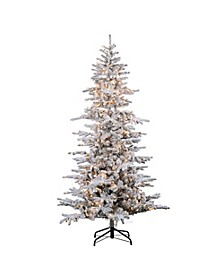 7.5Ft. Flocked Cambridge Fir Tree with 550 Clear Lights